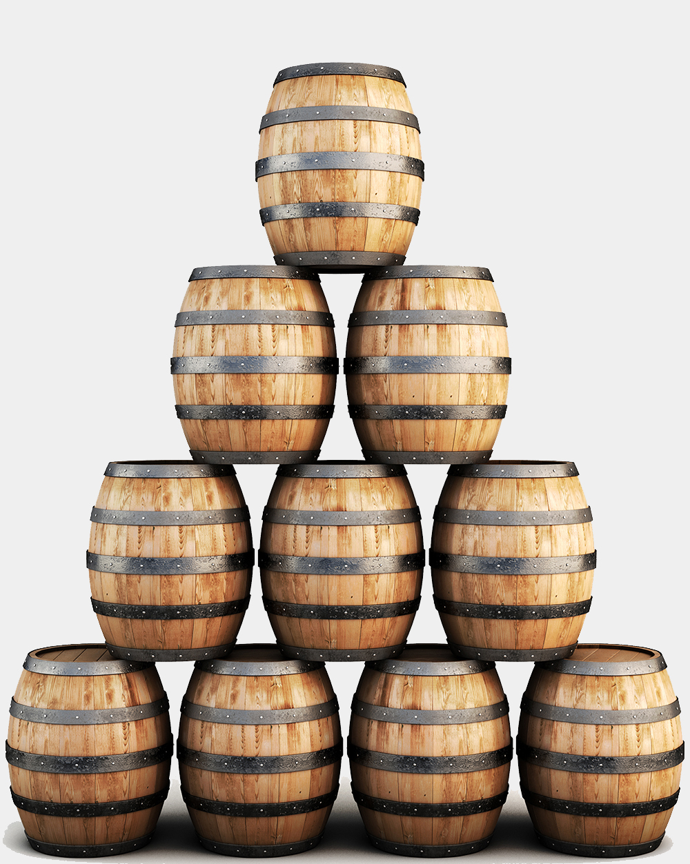 Image of a stack of wooden barrels